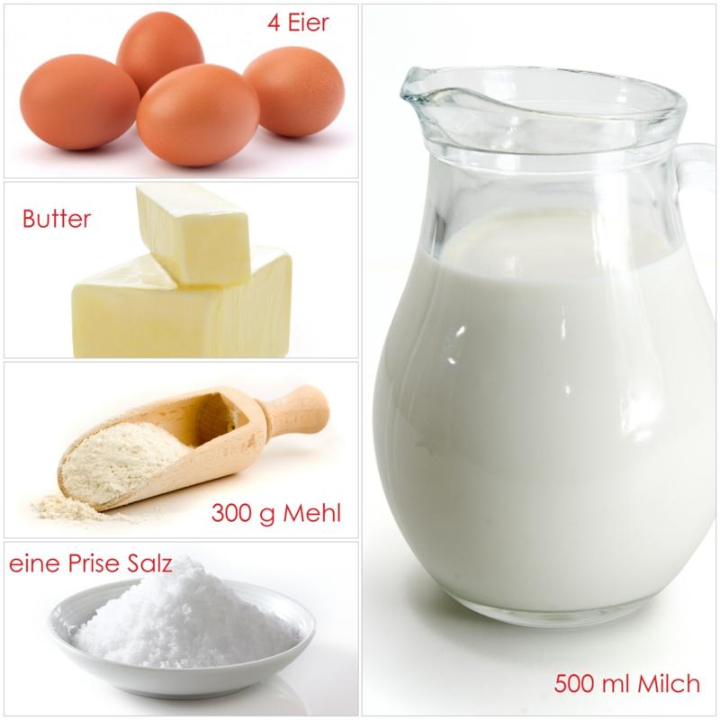 Pfannkuchenteig Rezept Zutaten Milch Eier Butter Mehl Salz