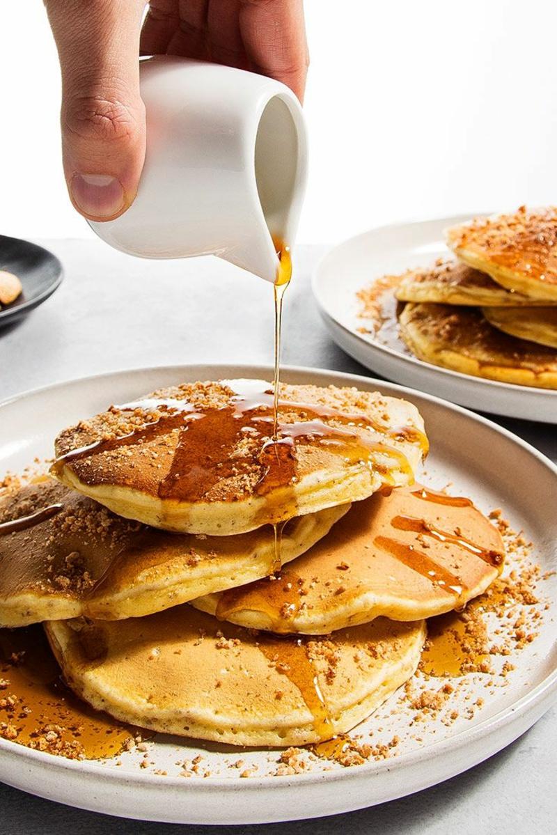 Pfannkuchenteig Rezept amerikanische Pfannkuchen mit Honig