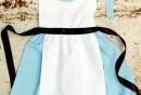 Schürze-nähen-Anleitung-Damen-Küchenschürze-blau-weiß