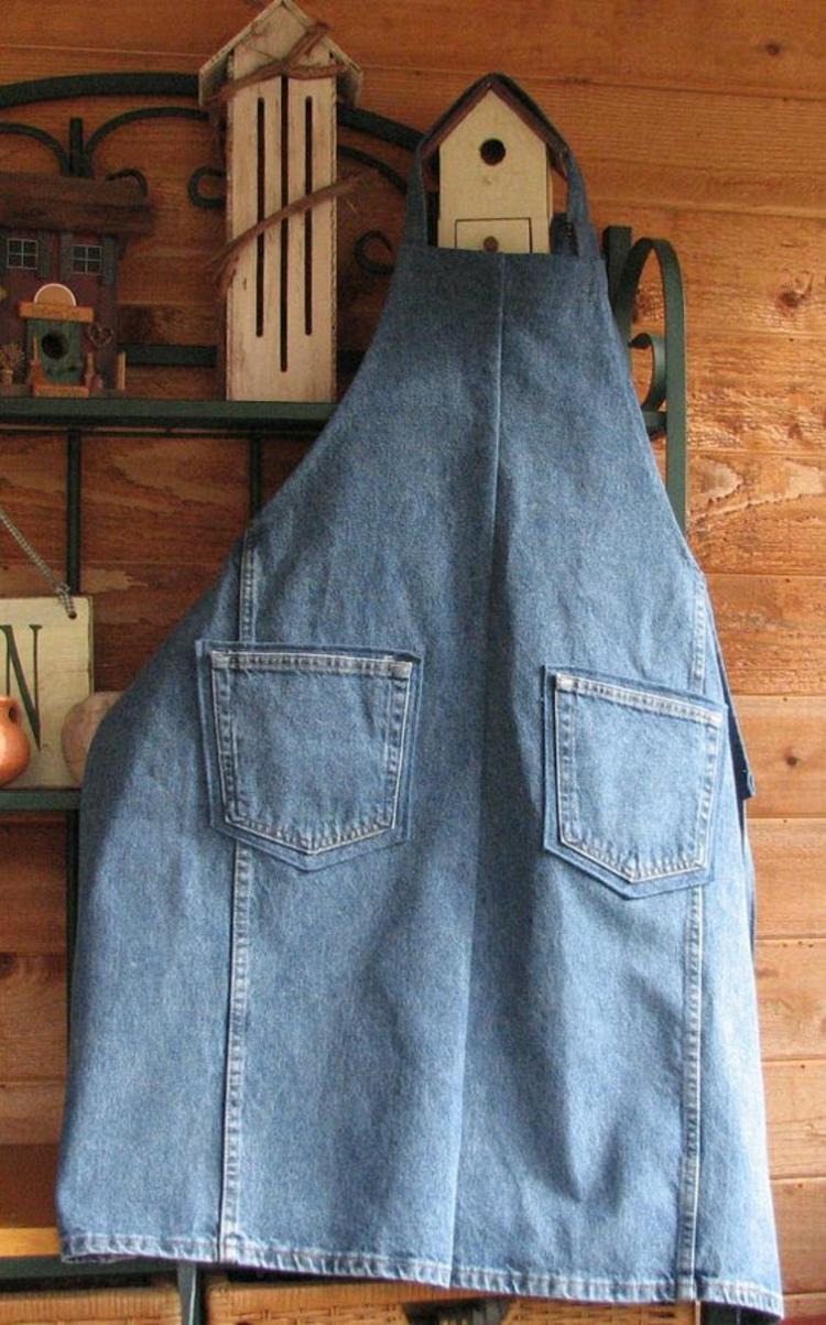 Schürze nähen Anleitung Jeansstoff einfache DIY Ideen