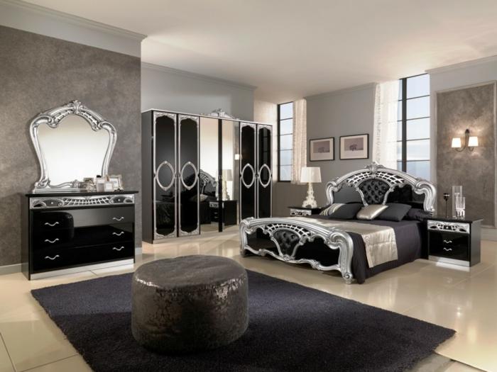 Schlafzimmer Ideen im viktorianischen Stil Farbgestaltung monochrom