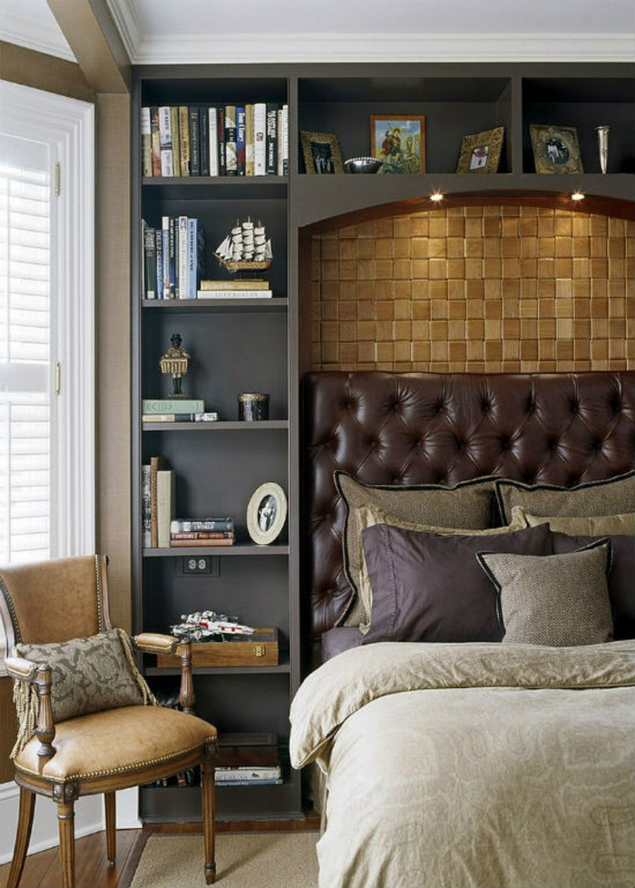 Schlafzimmer Ideen im viktorianischen Stil Polsterbett Bücherregal