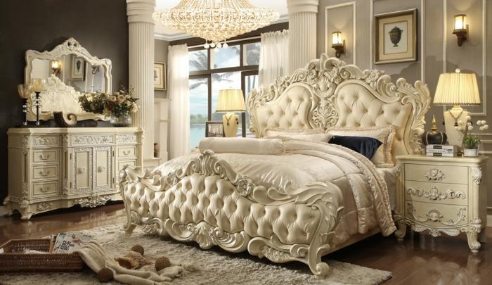 Schlafzimmer einrichten Einrichtungsbeispiele im viktorianischen Stil Polsterbett Kommode