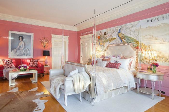 Schlafzimmer einrichten Einrichtungsbeispiele im viktorianischen Stil rosa Wandfarbe