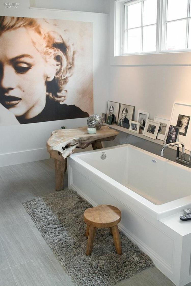 Wohnung einrichten Badezimmereinrichtung Badewanne Fotowand Ideen