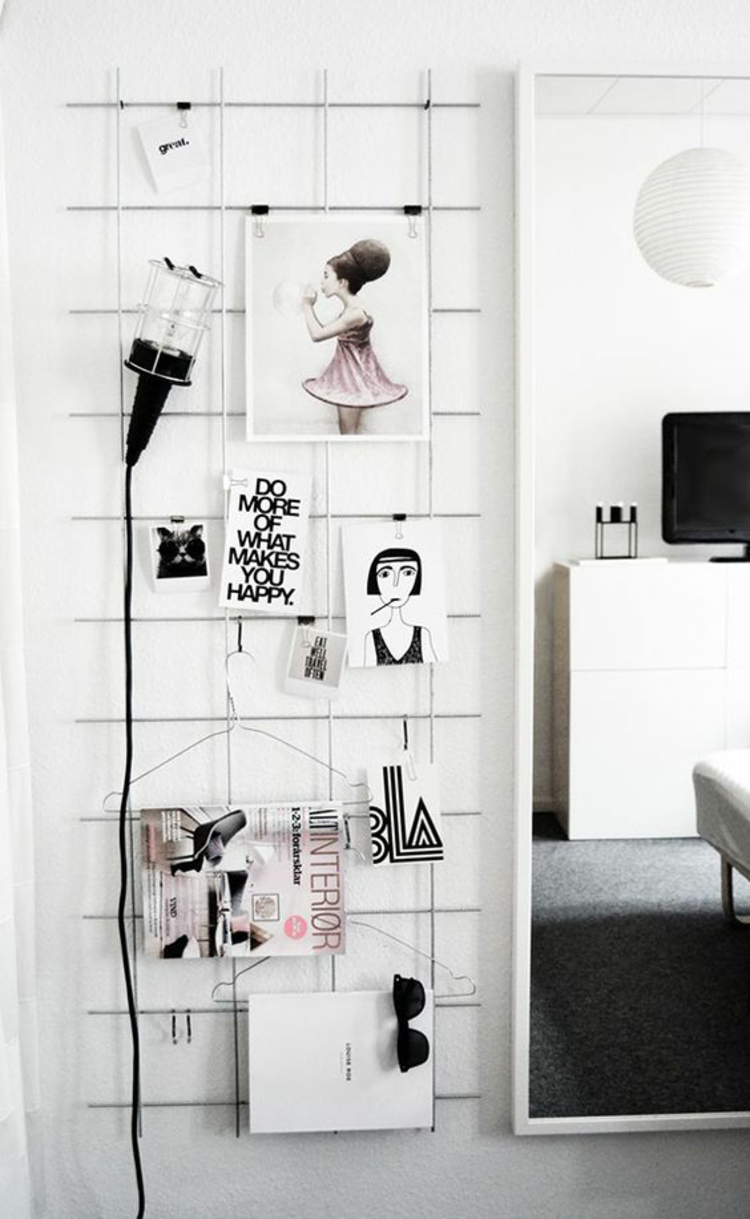 Wohnung einrichten Bett Wandspiegel praktische Wandgestaltung