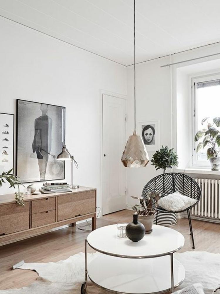 Wohnung einrichten Couchtisch rund Dekoartikel Kommode Holz