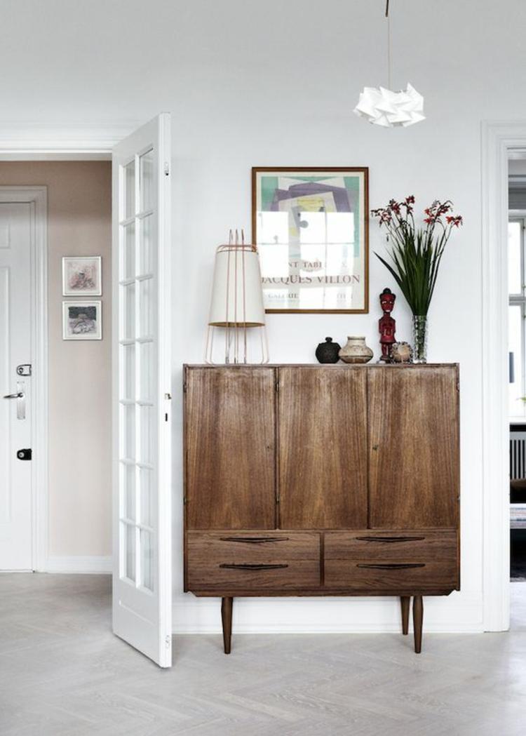 Wohnung einrichten Retro Möbel Holz Kommode