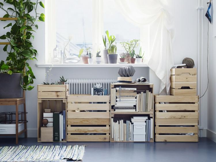 Wohnung einrichten Tipps Aufbewahrungsmöglichkeiten Holz Kisten