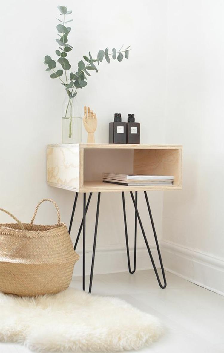 Wohnung einrichten Tipps Nachttisch selber bauen Holz Rattankorb