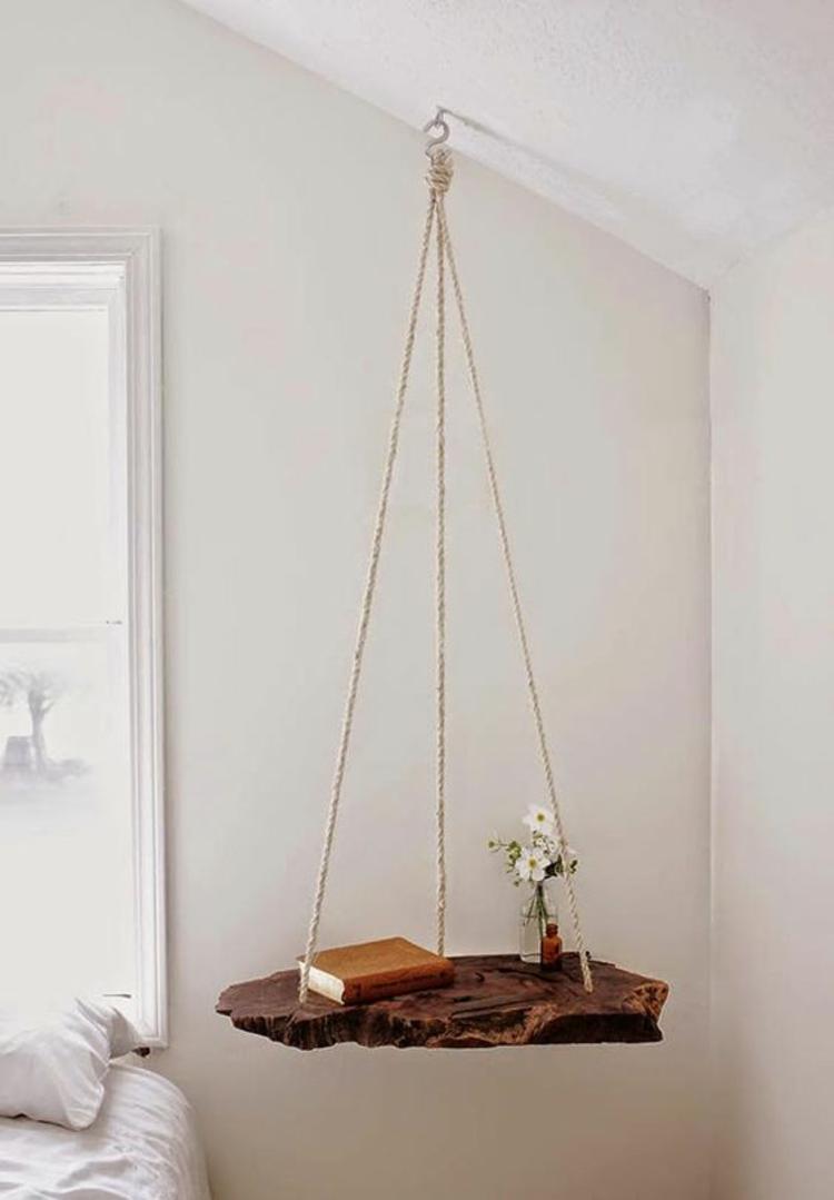 Wohnung einrichten Tipps Schlafzimmer Nachttisch hängend