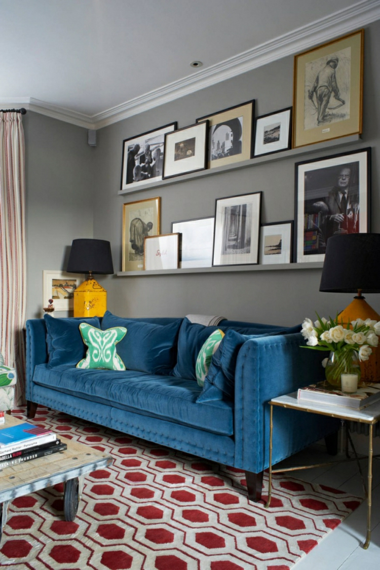 Wohnung einrichten Tipps Wohnzimmer Möbel Sofa Bilderleisten Wand