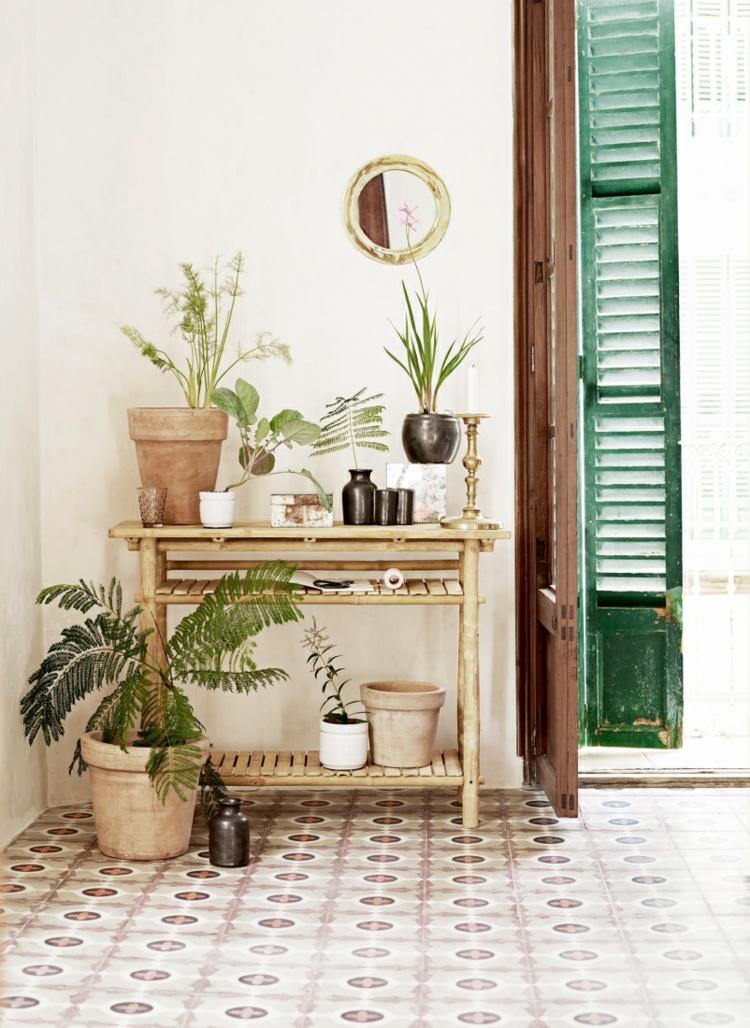 Wohnung einrichten Tipps Zimmerpflanzen Holzregal