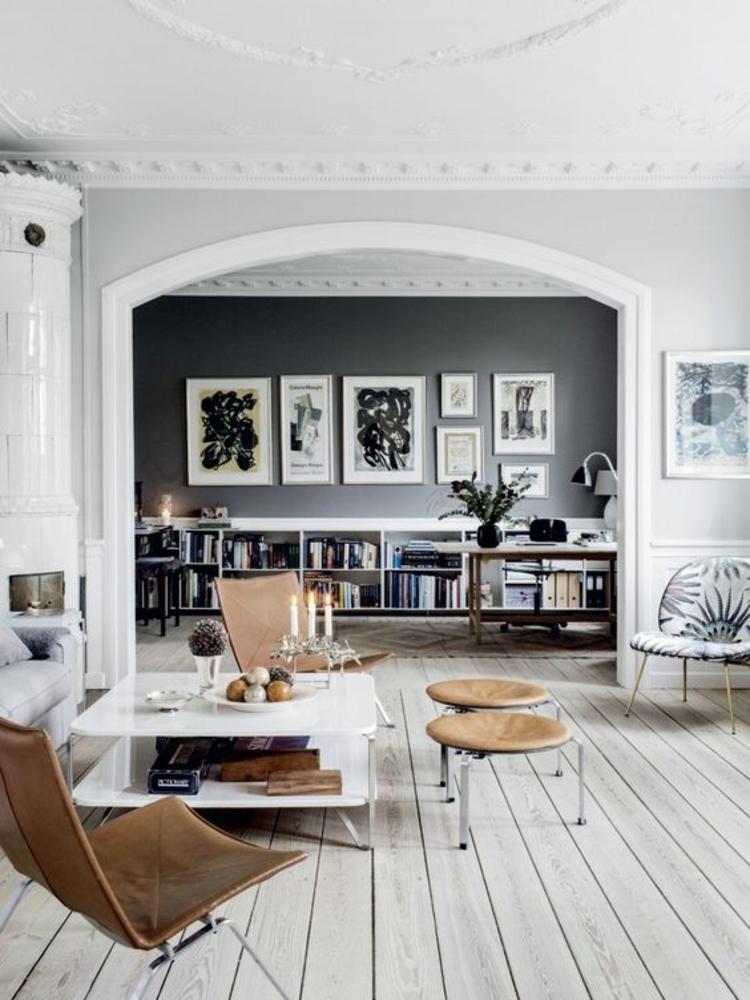 Wohnung einrichten Wohnzimmer Dielenboden Designklassiker Stühle
