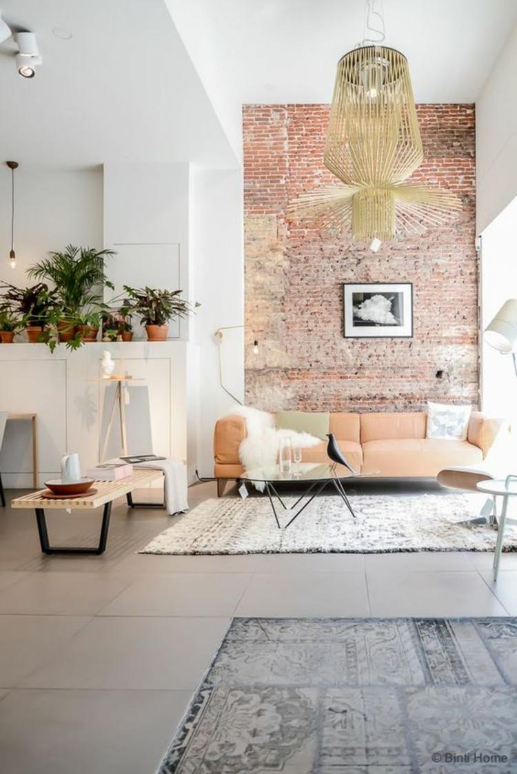 Wohnung einrichten Wohnzimmer Einrichtunf Backsteinwand