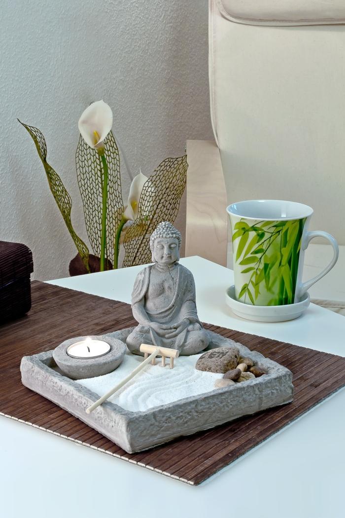 besser schlafen schlafzimmer zen einrichtung feng shui mini garten buddha statue