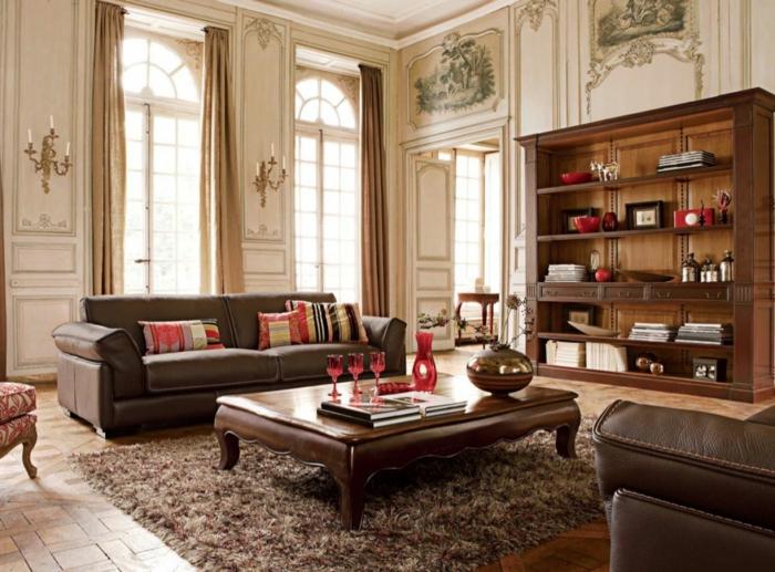 bodenbelag wohnzimmer bodenfliesen elegante ledersofas lange wohnzimmergardinen