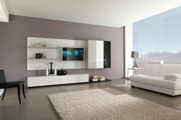bodenbelag wohnzimmer große bodenfleisen moderne wohnwand weißes sofa