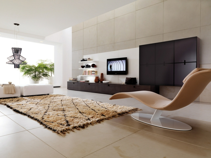 bodenbelag wohnzimmer große bodenfliesen cooler sessel