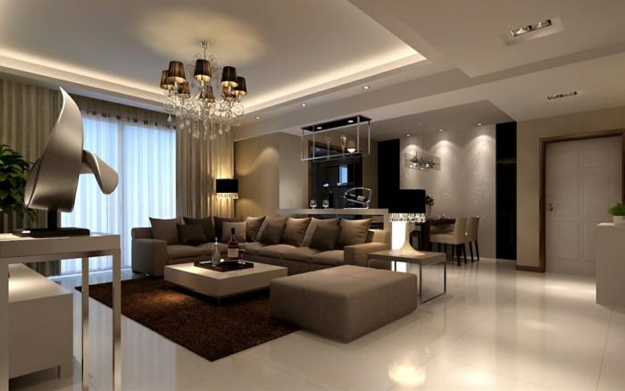 bodenbelag wohnzimmer helle bodenfliesen kronleuchter brauner teppich luxuriöses wohnzimmer