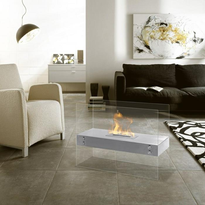 bodenbelag wohnzimmer keramische bodenfliesen moderne feuerstelle