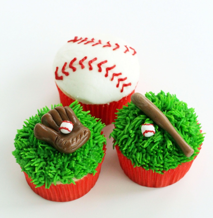 cupcake deco ideen baseball party sportmotive