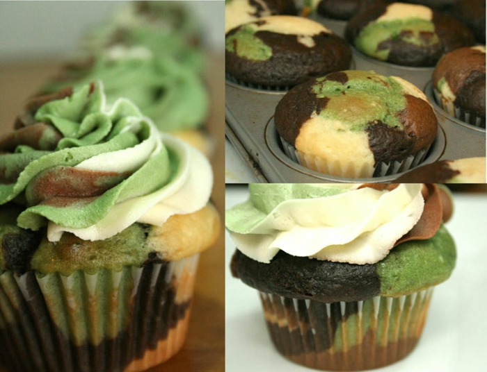 cupcake deco ideen camouflage paty tischdekoration