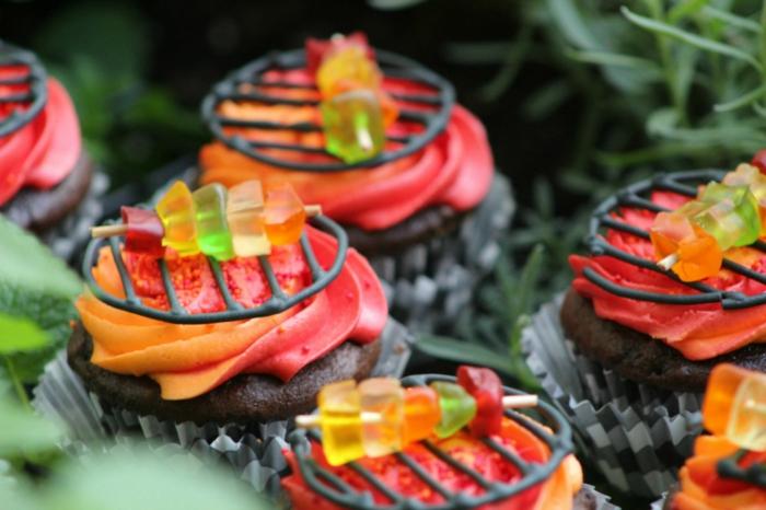 cupcake deco ideen kreativ grillparty haribo