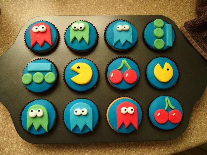 cupcake deco ideen party pacman design cupcakes rezepte