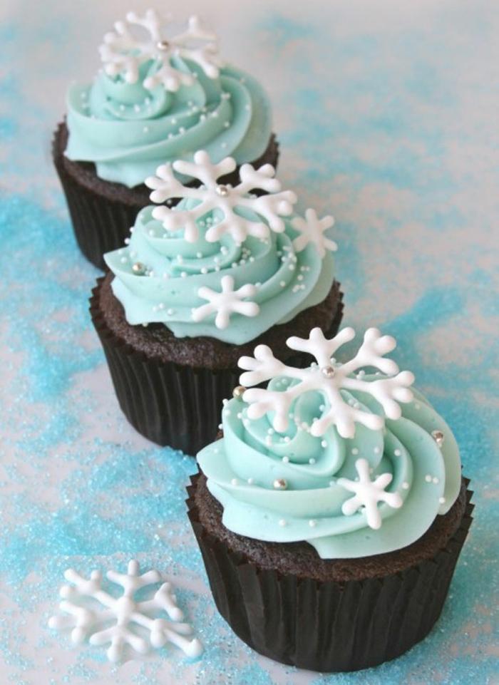 cupcake deco ideen winter silvesterparty schneekristalle tischdekoration
