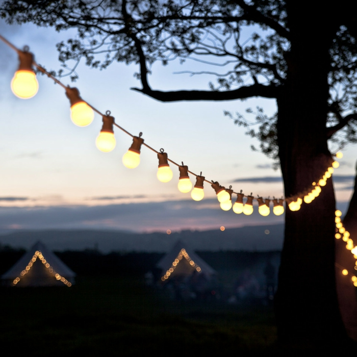 deko gartenparty leuchten lichterketten attraktiv