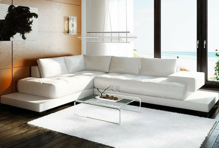 ecksofa weißes sofa weißer teppich wandpaneele