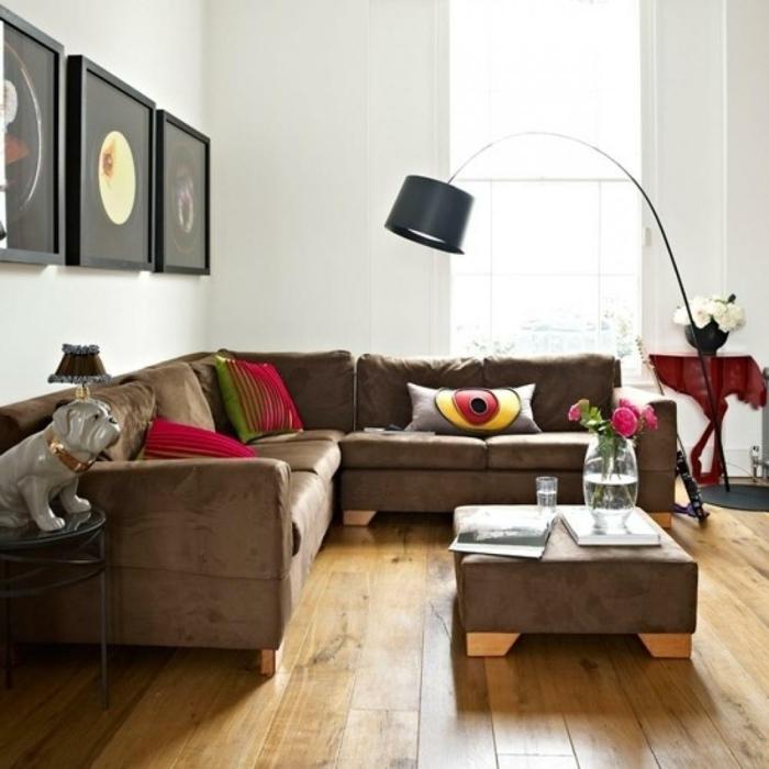 ecksofa wohnzimmer einrichten ideen polstermöbel holzboden wanddeko