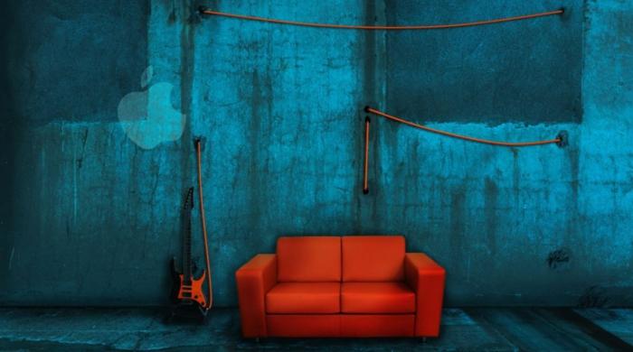 farbe türkis farbgestaltung einrichtungsbeispiele trendfarbe wandgestaltung wanddesign blaugrün apple musik zimmer