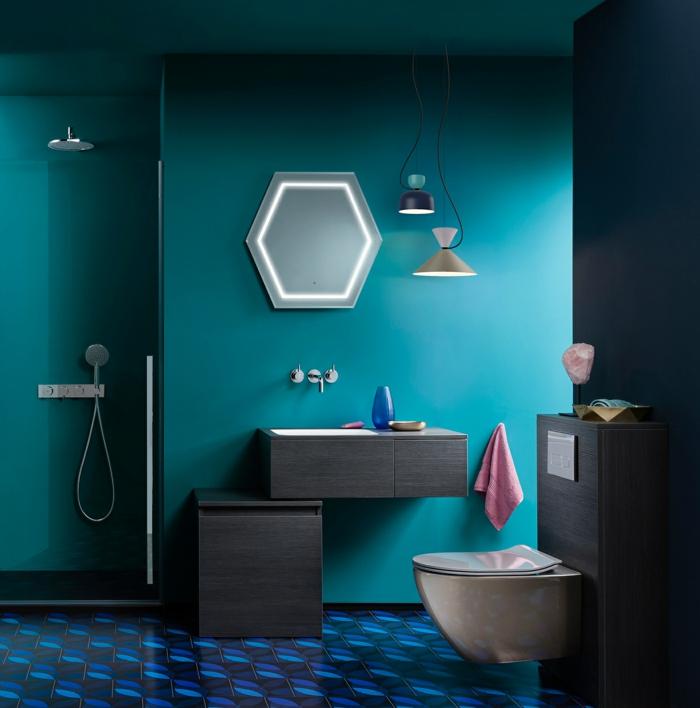 farbe türkis farbgestaltung einrichtungsbeispiele trendfarbe wandgestaltung wanddesign blaugrün bad