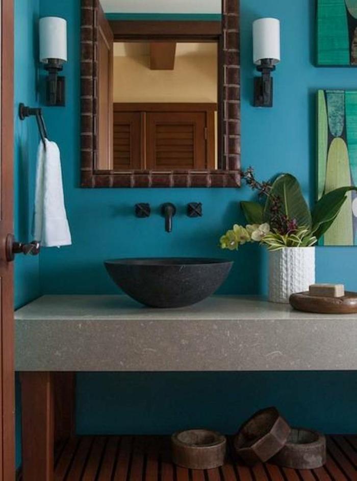 farbe türkis farbgestaltung einrichtungsbeispiele trendfarbe wandgestaltung wanddesign blaugrün bad2