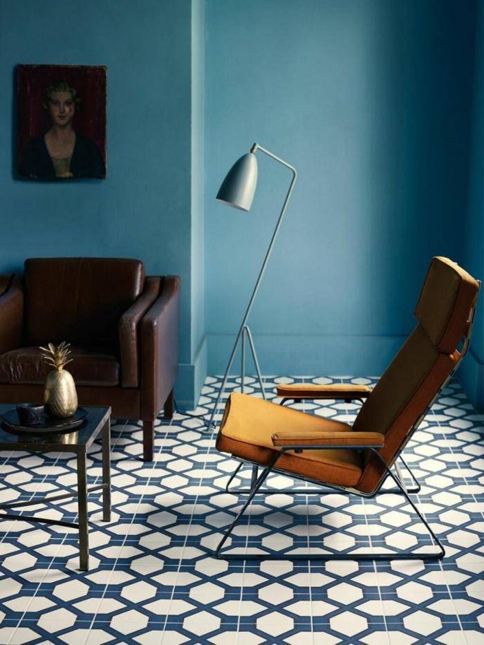 farbe türkis farbgestaltung einrichtungsbeispiele trendfarbe wandgestaltung wanddesign blaugrün boden