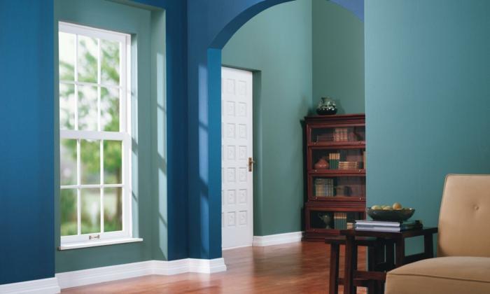 einrichtungsbeispiele trendfarbe wandgestaltung wanddesign blaugrün fenster