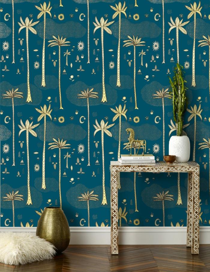 einrichtungsbeispiele trendfarbe wandgestaltung wanddesign blaugrün gold