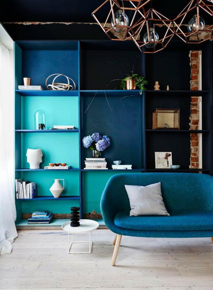 einrichtungsbeispiele trendfarbe wandgestaltung wanddesign blaugrün hell dunkel