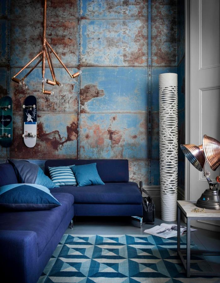 einrichtungsbeispiele trendfarbe wandgestaltung wanddesign blaugrün indigo blau