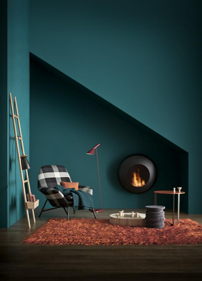 farbe türkis farbgestaltung einrichtungsbeispiele trendfarbe wandgestaltung wanddesign blaugrün inszene