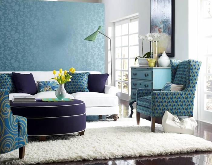 einrichtungsbeispiele trendfarbe wandgestaltung wanddesign blaugrün lila