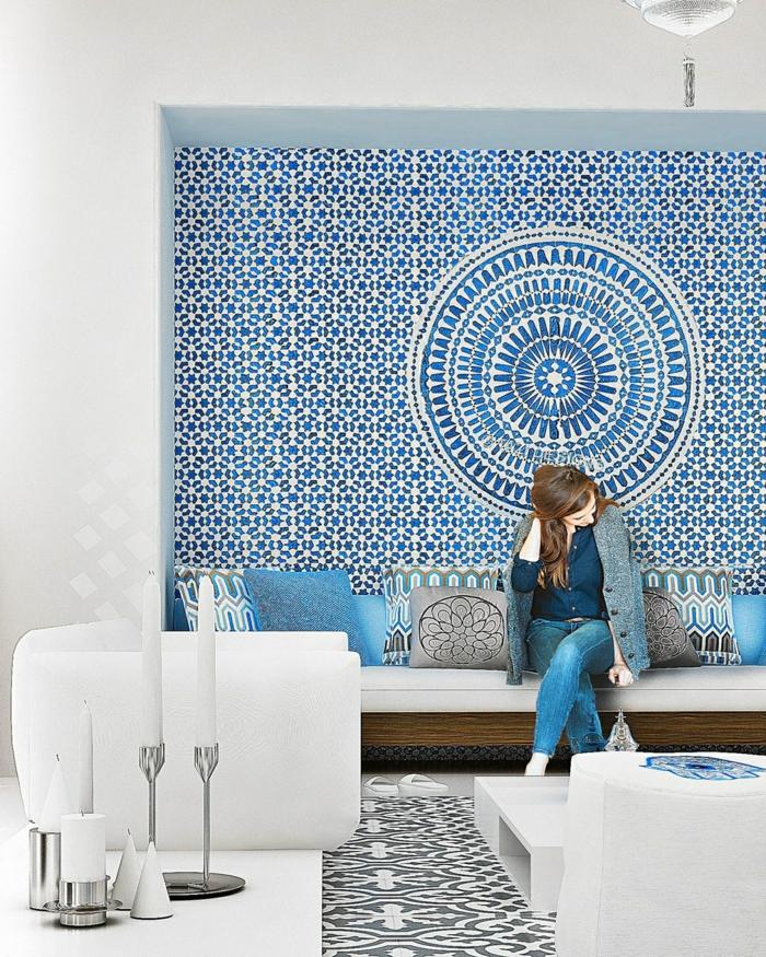 trendfarbe wandgestaltung wanddesign blaugrün marokko