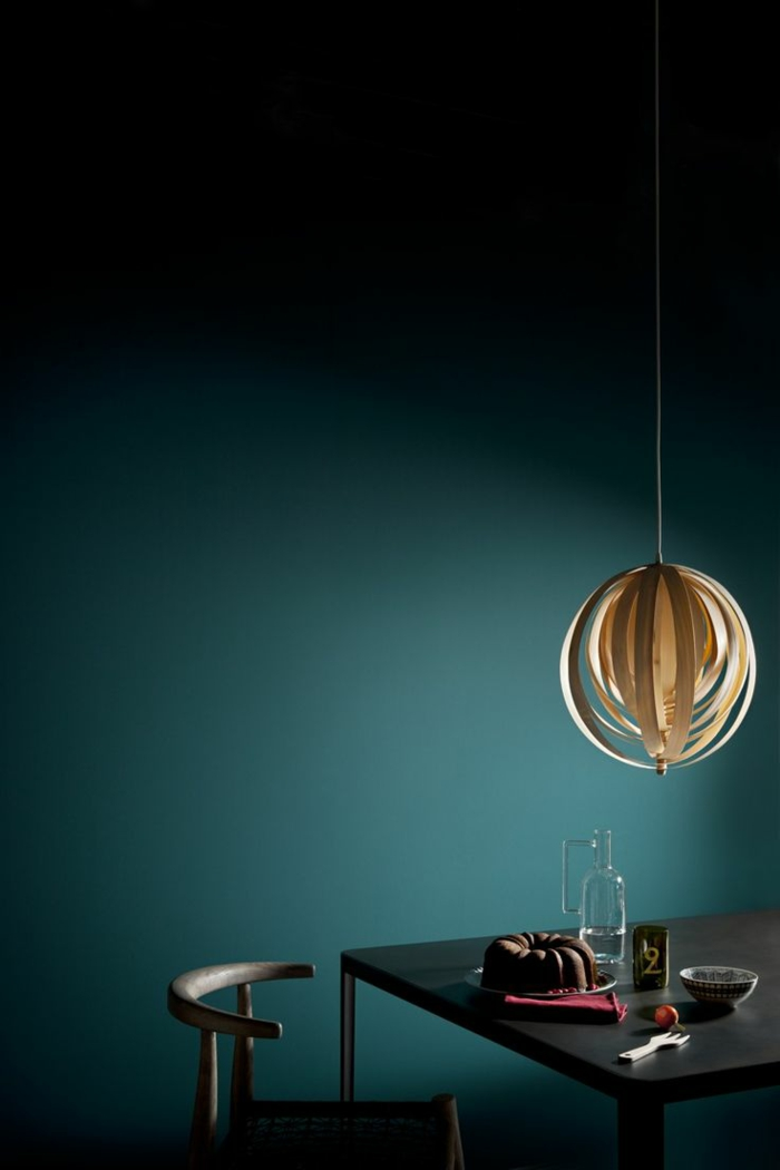 trendfarbe wandgestaltung wanddesign blaugrün minimal