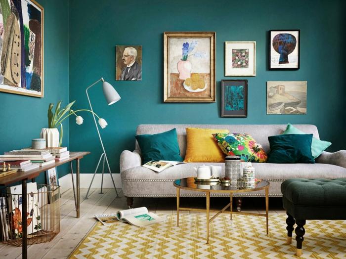 trendfarbe wandgestaltung wanddesign blaugrün zeit