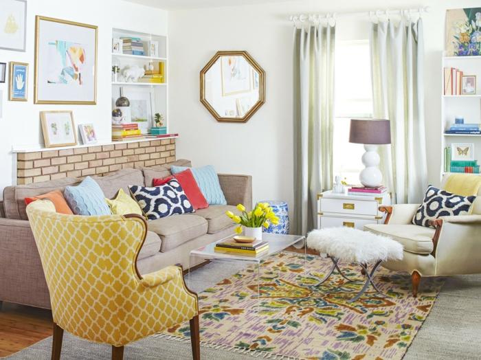 einrichtungsideen eklektisches wohnzimmer farbiger teppich muster kombinieren
