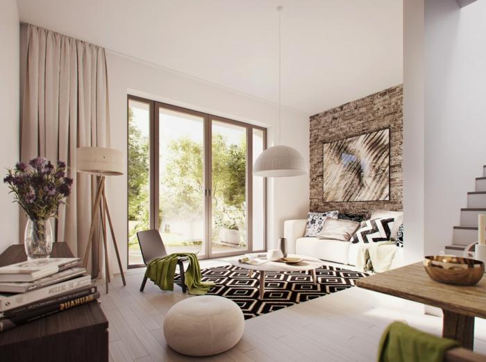 einrichtungsideen offener grundriss essbereich wohnzimmer teppich