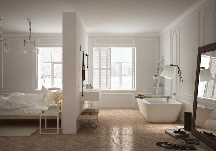 einrichtungsideen schlafzimmer badewanne trennwand