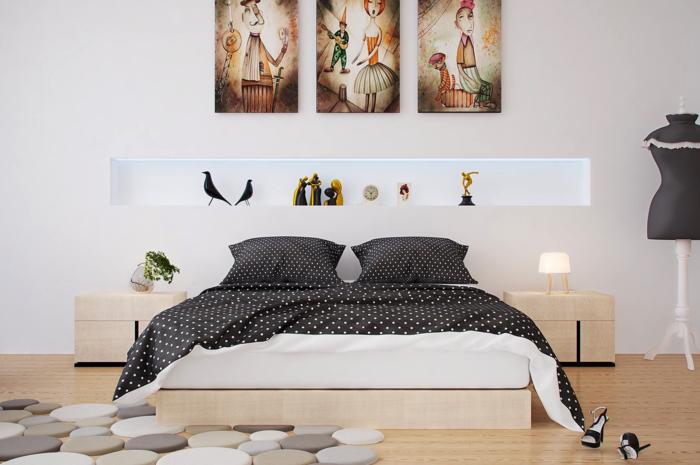 einrichtungsideen schlafzimmer bettwäsche punkte lampen helle wände
